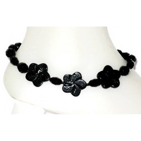 Black Flower Ankle Bracelet