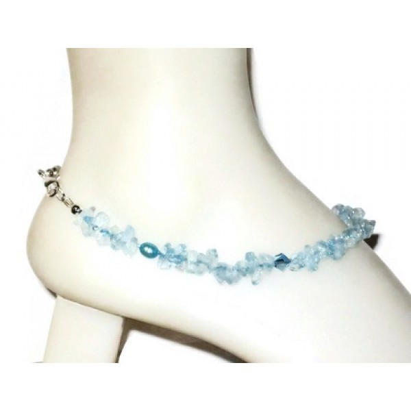 Blue Quartz Chip Beaded Ankle Bracelet