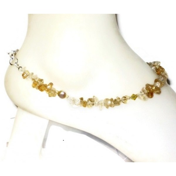 Citrine Chip Beaded Ankle Bracelet