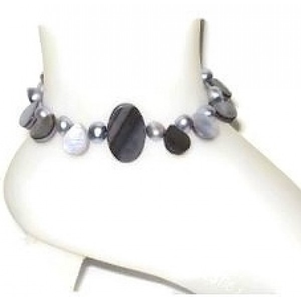 Grey Mother-of-Pearl and Freshwater Pearl Ankle Bracelet