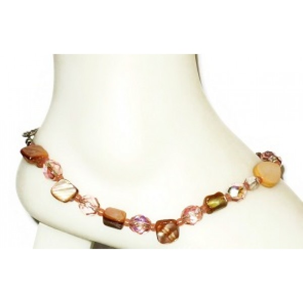 Peach Ankle Bracelet with Mother-of-Pearl Center Piece