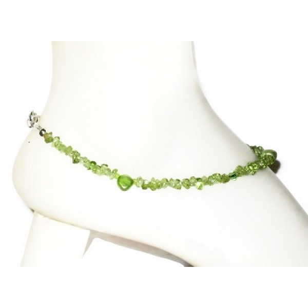 Peridot Chip Beaded Ankle Bracelet