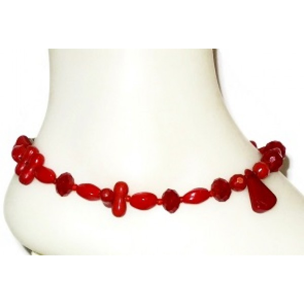 Red Ankle Bracelet with Teardrop Bead Center