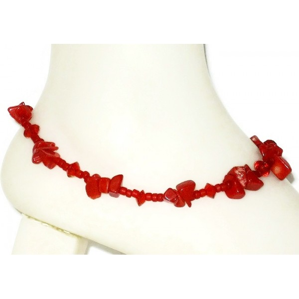 Red Ankle Bracelet with Red Coral Chip Beads