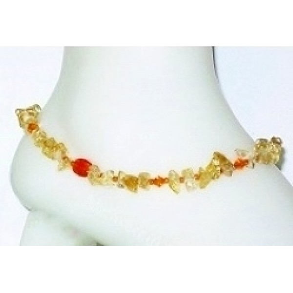 Citrine and Orange Ankle Bracelet
