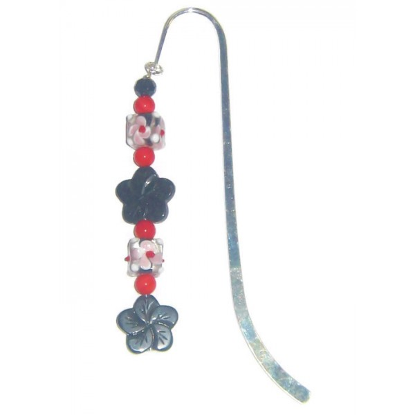 Black, White, Pale Pink and Red Flower Bookmark