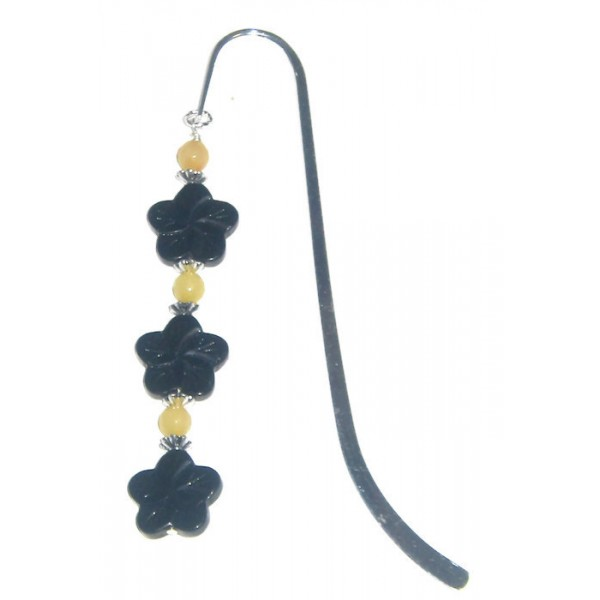 Black Flower Bookmark with Pale Yellow Jade Beads