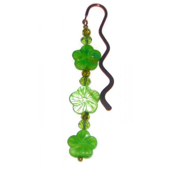 Green Mother-of-Pearl Flower Bookmark