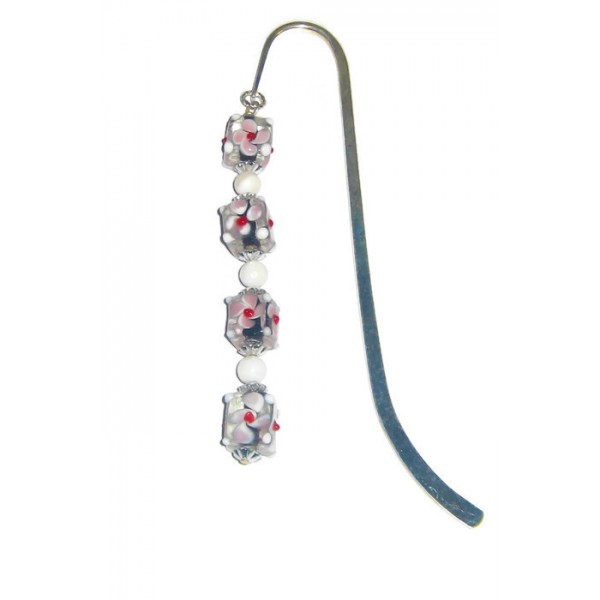 Black, White, Pink and Red Lampwork Glass Bookmark