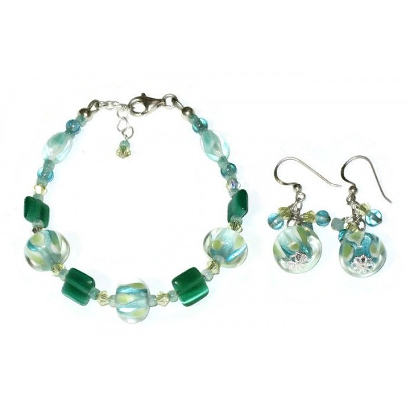 Aqua, Yellow, Teal and Mint Green Lampwork Bracelet and Earring Set