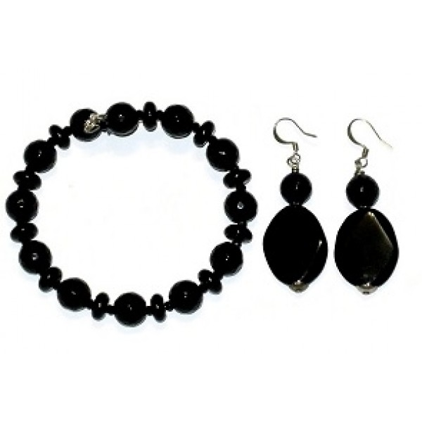 Black Onyx and Agate Bracelet Set