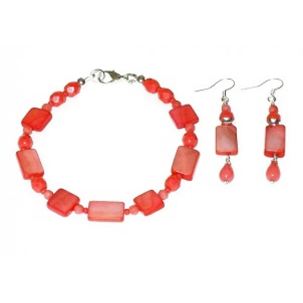 Coral Bracelet and Earrings