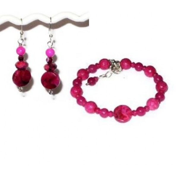 Fuchsia Bracelet and Earring Set with Crazy Lace Agate Beads