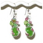 Green and Pink Floral Lampwork Glass Bracelet and Earring Set