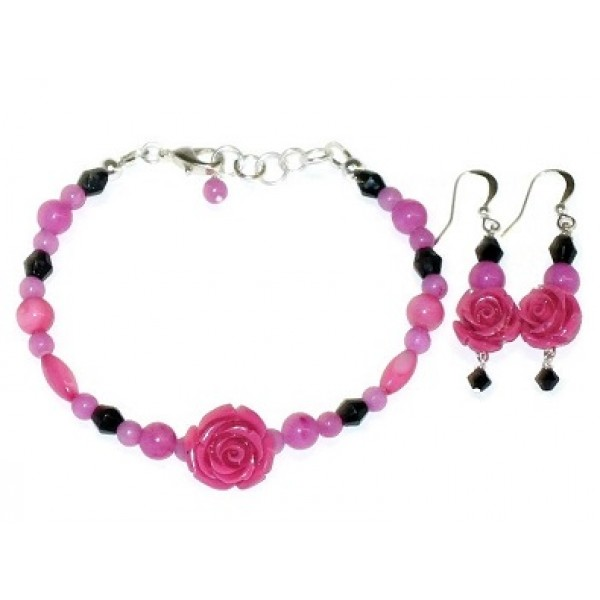 Hot Pink and Black Bracelet and Earring Set with Rose Flower