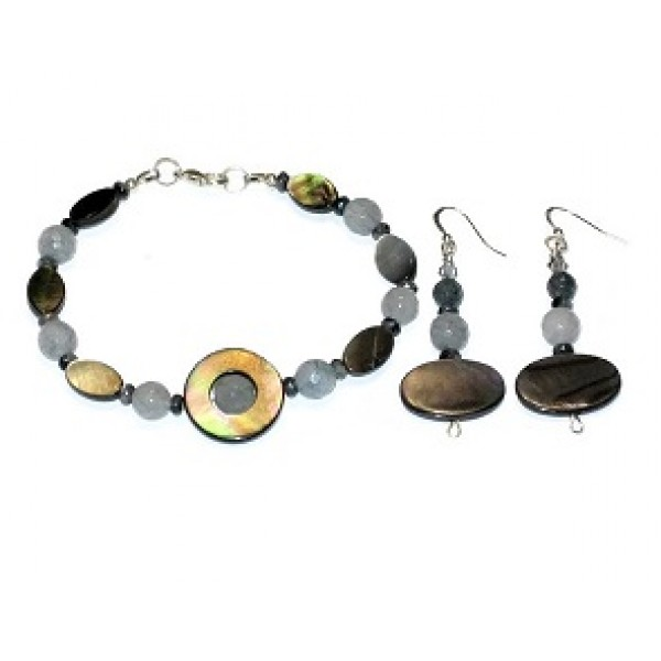 Light and Dark Gray Semi-Precious Bracelet Set