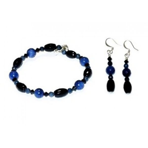 Navy Blue Jade and Crystal Bracelet Set