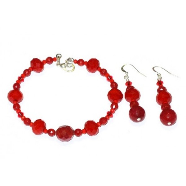 Red Crystal and Jade Bracelet and Earring Set