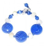 Royal Blue and White-Striped Blown Glass Bracelet Set with Matching Earrings and Pendant