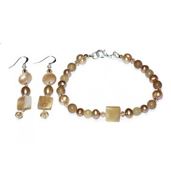 Tan, Beige and Champagne Bracelet and Earring Set
