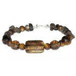Brown Tiger Eye and Smokey Quartz Bracelet Set