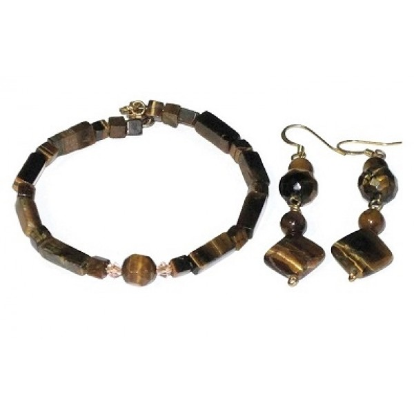 Tiger Eye Bracelet with Matching Earrings