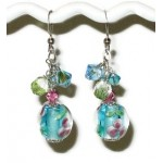 Turquoise, Aqua and Green Floral Lampwork Glass Bracelet and Earring Set