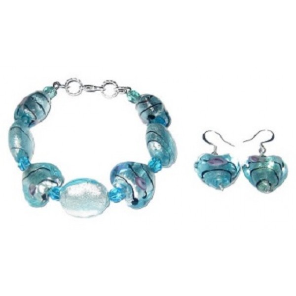 Turquoise Foil Glass Heart Bracelet Set