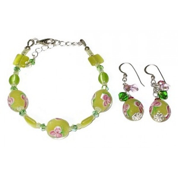 Yellow, Green and Pink Floral Lampwork Glass Bracelet and Earring Set
