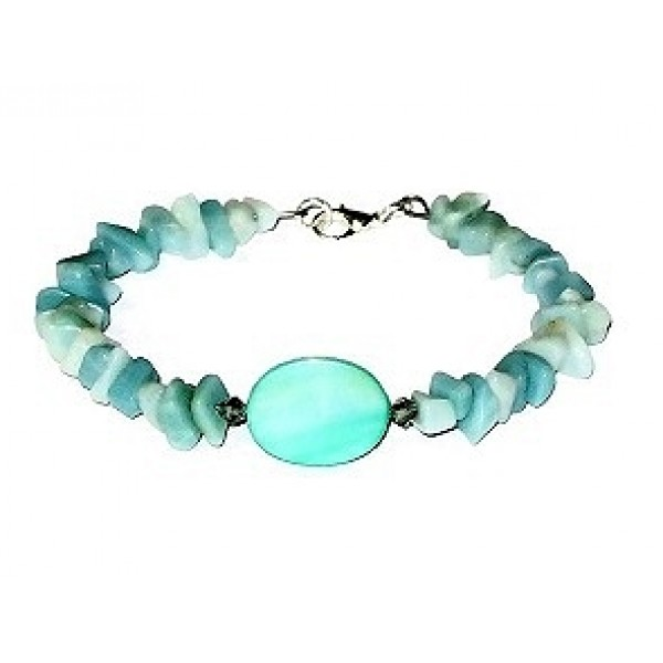 Amazonite Chip Beaded and Mint Green Bracelet