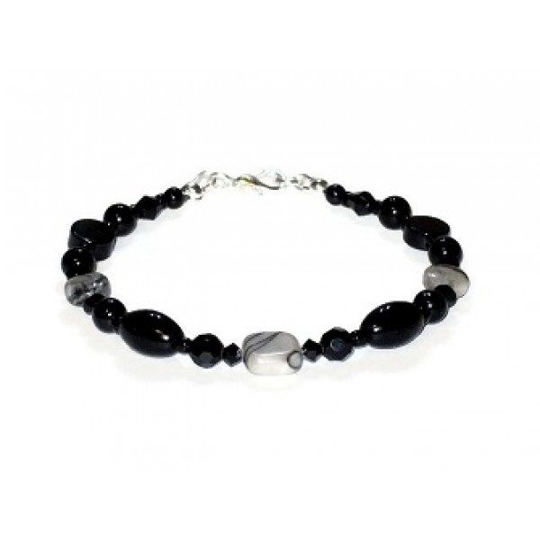 Black Onyx and Gray Jasper Bracelet
