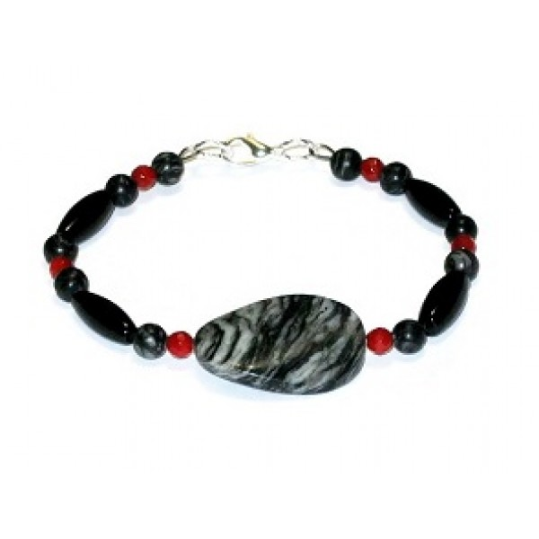 Black, Gray and Red Bracelet with Jasper Center Stone