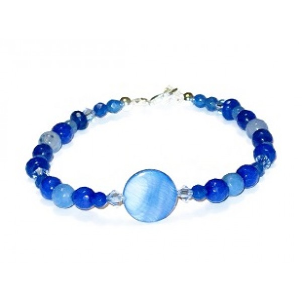 Blue Bracelet with Mother-of-Pearl Center Piece