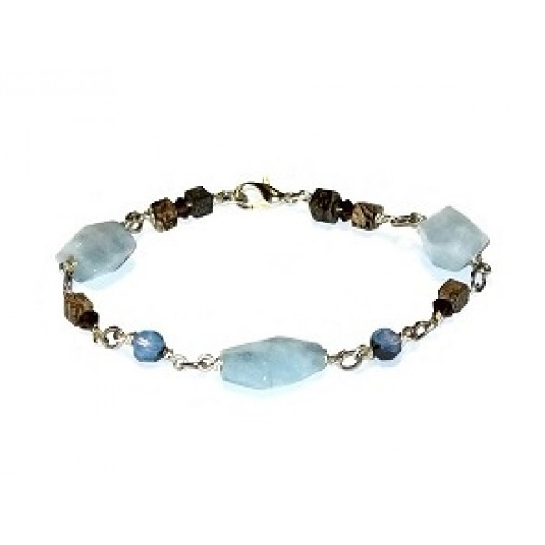 Blue Link Bracelet with Semi-Precious Stones