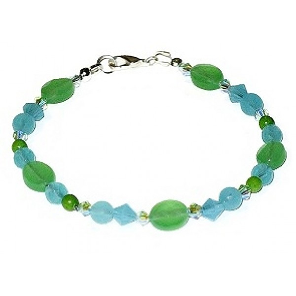 Aqua Blue and Green Beaded Bracelet
