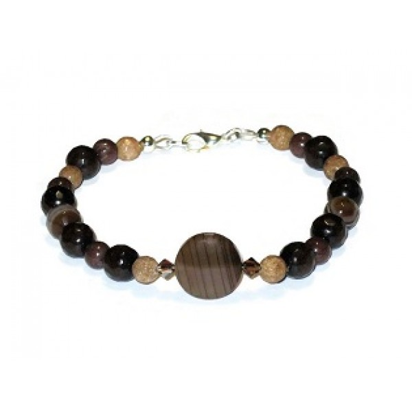 Brown and Tan Bracelet with Agate Center