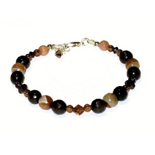Brown and Beige Jade and Agate Bracelet