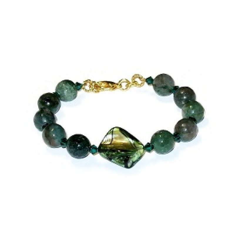 Forest And Emerald Green Jade Bracelet With S Bead Center Piece