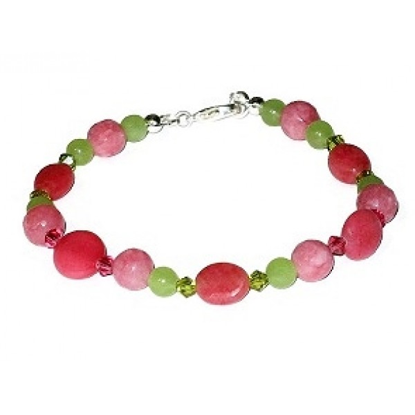 Green and Pink Semi-Precious Beaded Bracelet