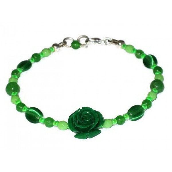 Green Bracelet with Carved Flower