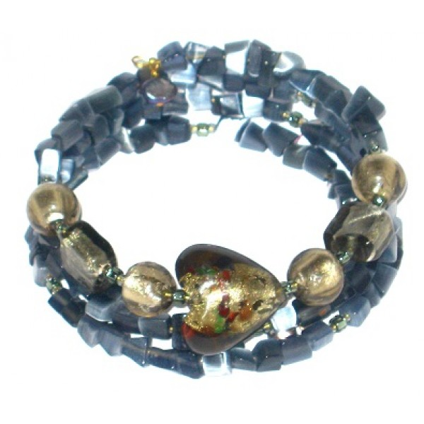 Gray Chip Bead and Foil Glass Wrap Bracelet with Heart