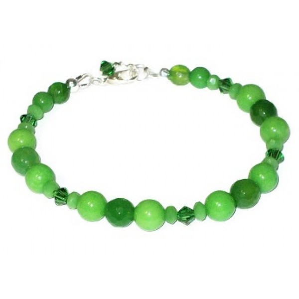 Apple Green Jade and Agate Beaded Bracelet