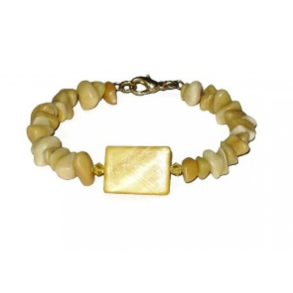 Honey Yellow Chip Jade and Shell Bracelet