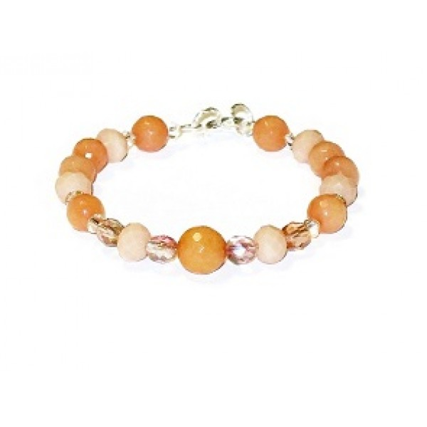 Peach Beaded Bracelet with Jade Beads
