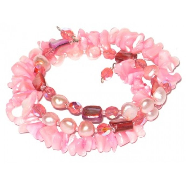 Pink Mother-of-Pearl Chip Beaded Wrap Bracelet