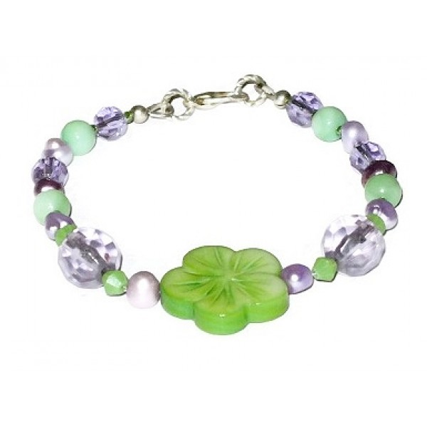 Purple and Green Bracelet with Flower