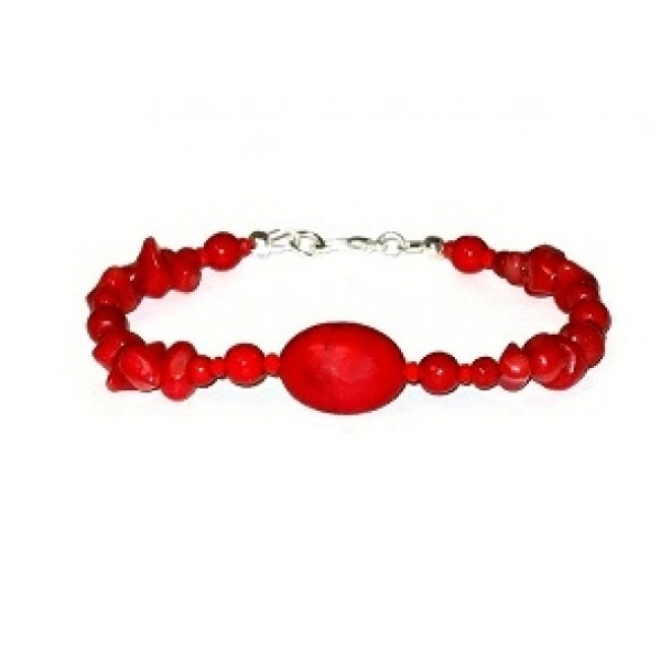 Red Beaded Bracelet with Semi-Precious Beads