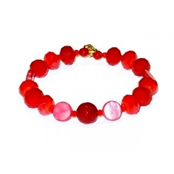 Red Bracelet with Jade Center Bead