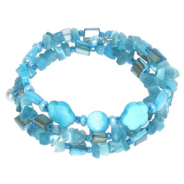 Turquoise Chip Beaded Wrap Bracelet with Flowers