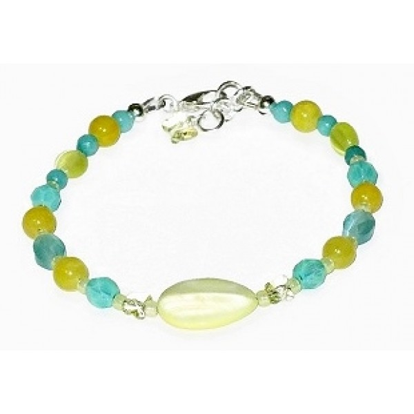 Yellow and Aqua Bracelet with Lemon Chiffon Mother-of-Pearl Center Piece